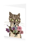 Cat with Vintage Flowers